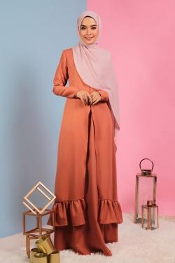 Allana Ruffle Jubah - Orange Brown
