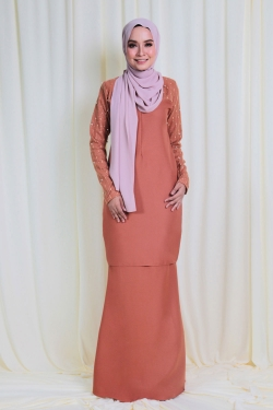 Arianna Glitters Pearl Kurung - Orange Brown
