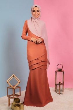 Aylaa Kurung - Orange Brown