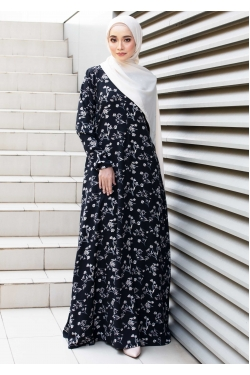 ABRINAA PRINTED JUBAH - BLACK