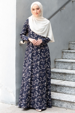 ABRINAA PRINTED JUBAH - DARK BLUE