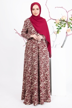 ADRINEE PRINTED JUBAH - MILK CHOCOLATE