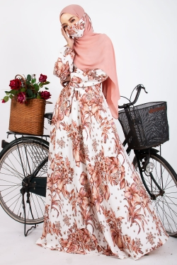 AFALASSY PRINTED DRESS - OFF WHITE