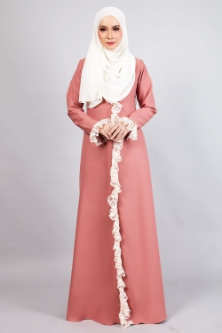 AFFLUENT LACE JUBAH - BRONZED ROSE