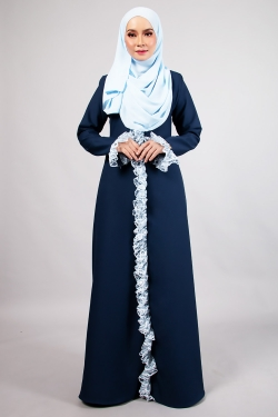 AFFLUENT LACE JUBAH - NAVY
