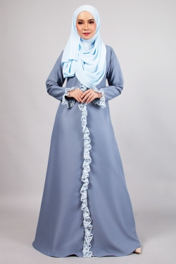AFFLUENT LACE JUBAH - POWDER BLUE