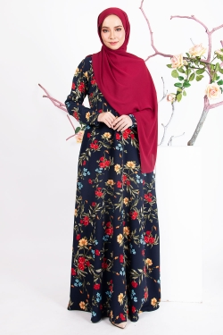 AILEEN PRINTED JUBAH - DARK BLUE