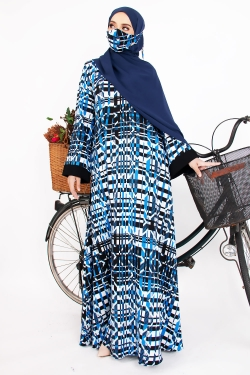 AMEENLINDY PRINTED ABAYA - MIXED BLUE