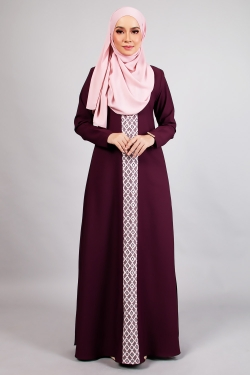 ANDDY LACE JUBAH - WINE