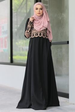 Anella Lace Jubah - Black