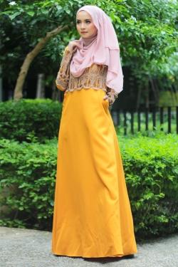 Anella Lace Jubah - Mustard