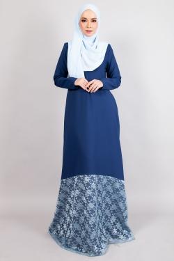 ANNIQA LACE JUBAH - MIDNIGHT BLUE