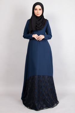 ANNIQA LACE JUBAH - NAVY