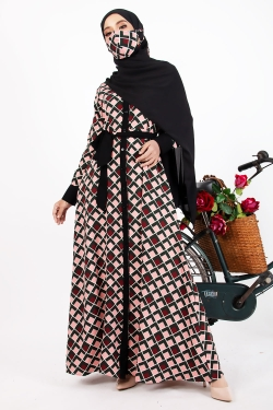 APEEKA PRINTED ABAYA - PLAID