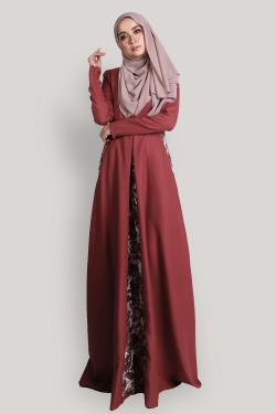 Arabella Jubah - Coral Red