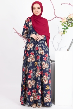AREELY PRINTED JUBAH - DARK BLUE