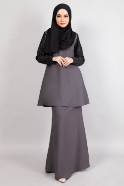ARIANNA LACE KURUNG - DARK GREY