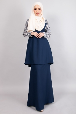 ARROSE LACE KURUNG - NAVY