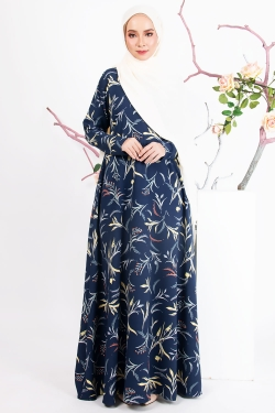 ASHLAA PRINTED JUBAH - NAVY BLUE