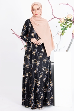 ASTELAA PRINTED JUBAH - BLACK