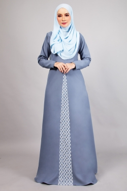 AWANNA LACE JUBAH - POWDER BLUE