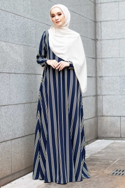 ALLISON PRINTED JUBAH - NAVY BLUE