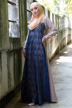 ATHENAA LACE JUBAH - NAVY+NUDE
