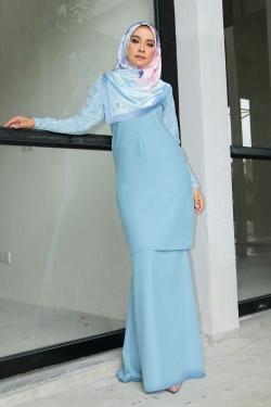 Arianna Al-Madinna Kurung - Dusty Blue