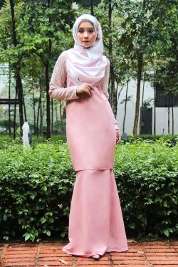 Arianna Al-Madinna Kurung - Peach Pink