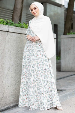 AMANDAA PRINTED JUBAH - OFF WHITE