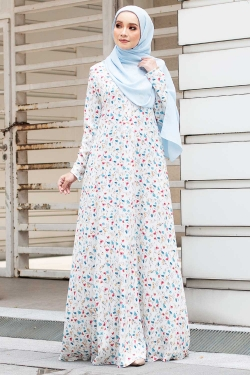 ALHEERA PRINTED JUBAH - OFF WHITE